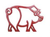 Rustic Red Cast Iron Pig Shaped Trivet 8