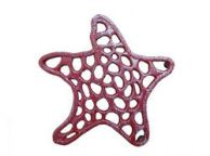 Rustic Red Whitewashed Cast Iron Starfish Trivet 7
