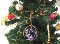 LED Lighted Dark Blue Japanese Glass Ball Fishing Float with Brown Netting Christmas Tree Ornament 4