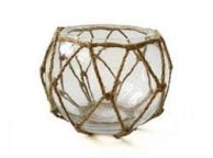 Clear Japanese Glass Fishing Float Bowl with Decorative Brown Fish Netting 6