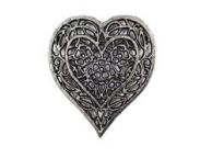 Rustic Silver Cast Iron Heart Shaped Trivet 7