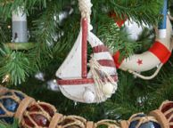 Wooden Rustic Red Sailboat Model Christmas Tree Ornament